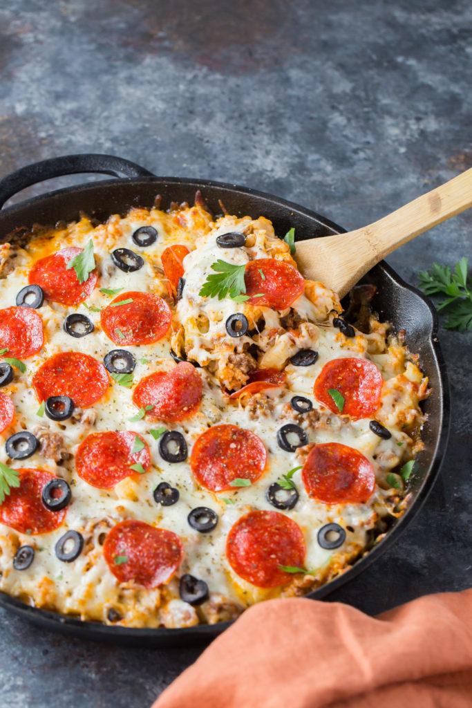 pizza casserole spoon